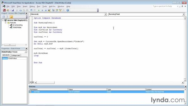 Watching a value in a routine: Up and Running with VBA in Access