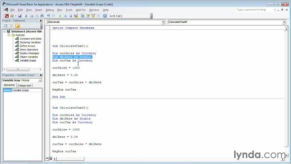 Managing variable scope: Up and Running with VBA in Access