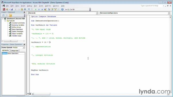 Creating a calculation using mathematical operators: Up and Running with VBA in Access