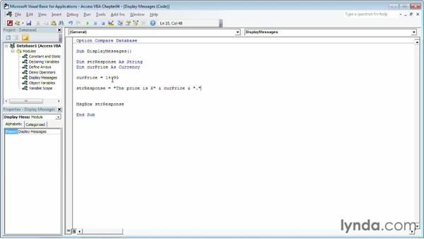 Displaying a calculated result in a message box: Up and Running with VBA in Access