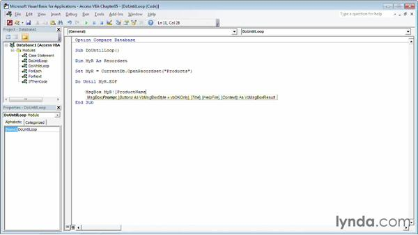 Repeating a task using a Do...Until loop: Up and Running with VBA in Access
