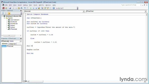 Performing a task when conditions are met using an If...Then statement: Up and Running with VBA in Access