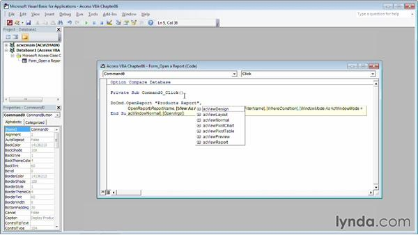 Opening a report: Up and Running with VBA in Access