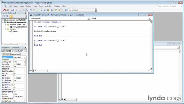 Closing a database or quitting Access: Up and Running with VBA in Access