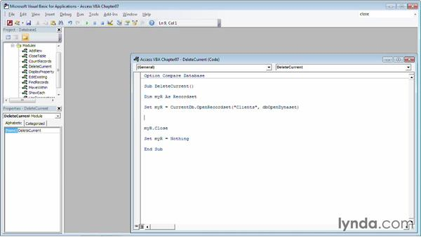 Deleting the current record: Up and Running with VBA in Access
