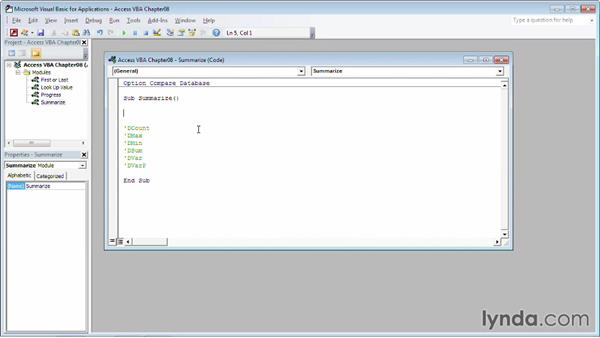 Summarizing values in a table field: Up and Running with VBA in Access