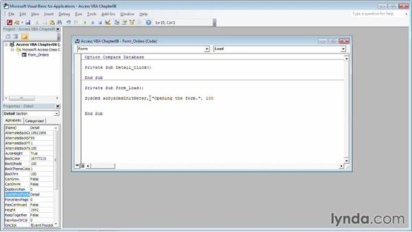 Create a progress bar using the SysCmd object: Up and Running with VBA in Access