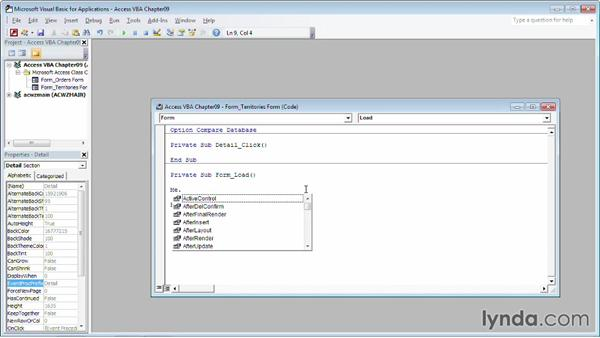 Setting the ScrollBars property: Up and Running with VBA in Access
