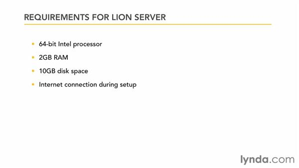 Understanding Lion Server installation requirements: Mac OS X Lion Server Essential Training