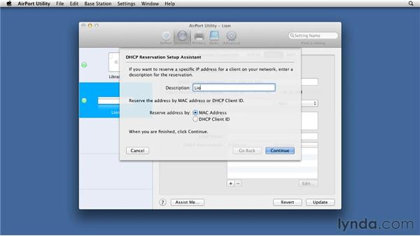 Reserving an address for your server: Mac OS X Lion Server Essential Training