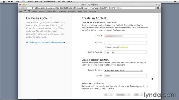 Getting an Apple ID: Mac OS X Lion Server Essential Training