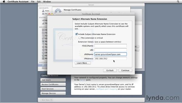 Creating a self-signed certificate to generate a certificate signing request (CSR): Mac OS X Lion Server Essential Training