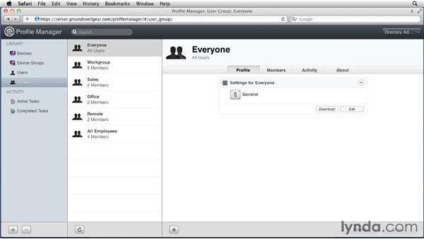Opening Profile Manager via Safari: Mac OS X Lion Server Essential Training