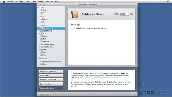 Enabling Address Book Server: Mac OS X Lion Server Essential Training