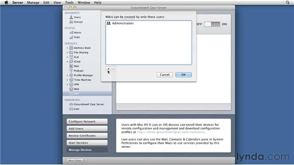 Turning on and configuring the Wiki: Mac OS X Lion Server Essential Training