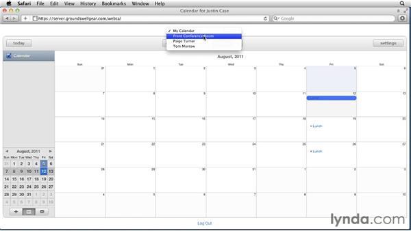 Using the web calendar: Mac OS X Lion Server Essential Training
