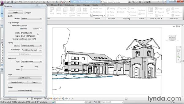 Configuring the resolution: Rendering with Revit Architecture 2012