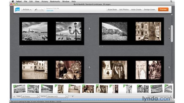 Touring the editing interface: Creating Photo Books with Blurb