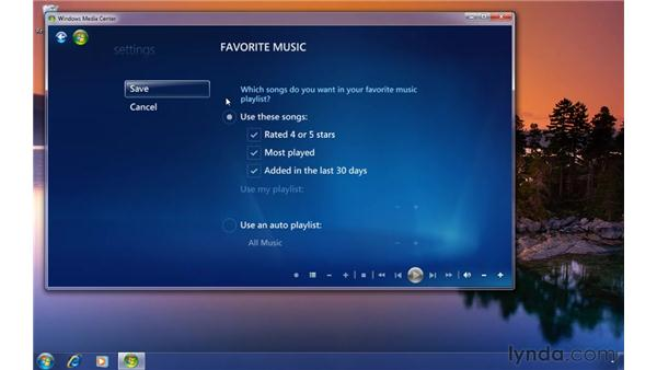 Changing favorite music settings in Media Center: Windows 7 Tips and Tricks