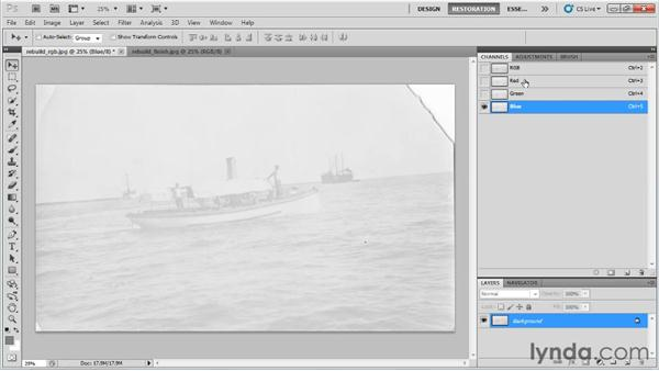 Rebuilding color channels in a grayscale image: Photo Restoration with Photoshop