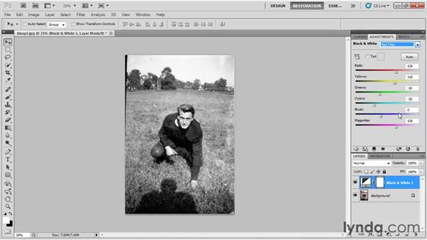 Using a Black & White adjustment layer: Photo Restoration with Photoshop