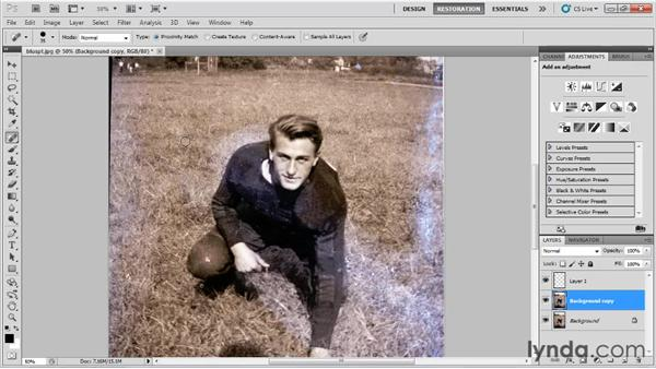 Using the Clone Stamp, Healing Brush, and Patch tools: Photo Restoration with Photoshop