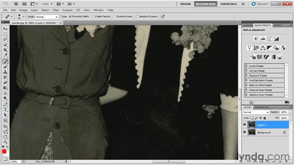 Removing small splits, specks, and spots: Photo Restoration with Photoshop