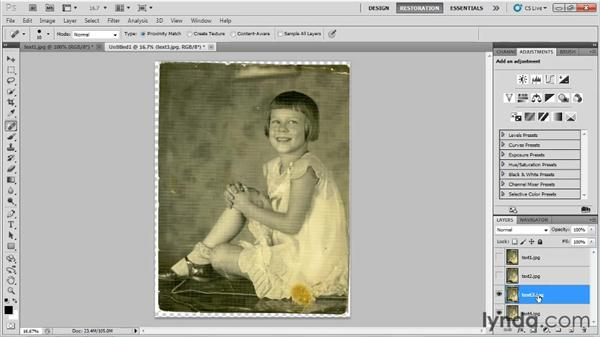 Reducing paper texture: Photo Restoration with Photoshop