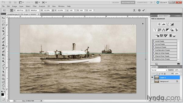 Straightening a crooked image: Photo Restoration with Photoshop