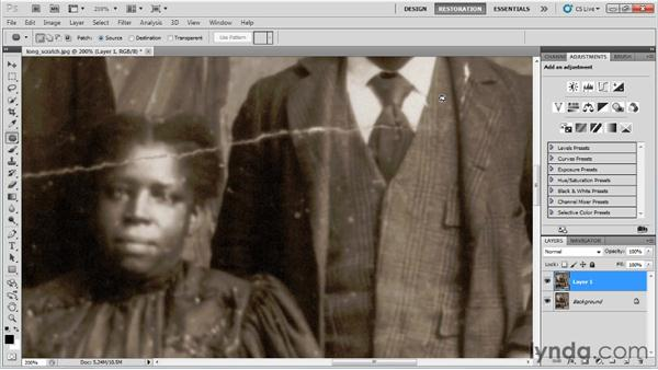 Removing long scratches: Photo Restoration with Photoshop