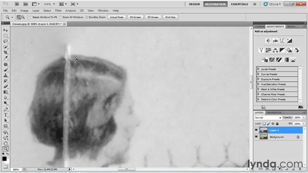 Fixing creases: Photo Restoration with Photoshop
