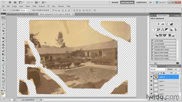 Reassembling torn photos: Photo Restoration with Photoshop