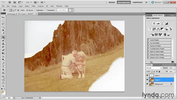 Replacing missing pieces: Photo Restoration with Photoshop