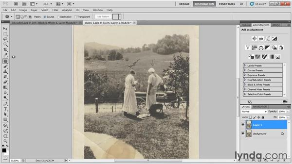 Removing ink marks: Photo Restoration with Photoshop