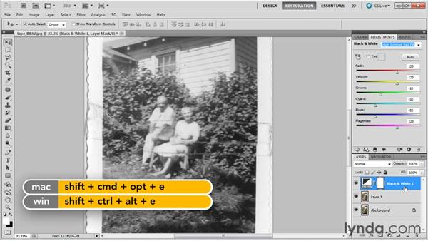 Repairing adhesive tape damage on a black-and-white photo: Photo Restoration with Photoshop