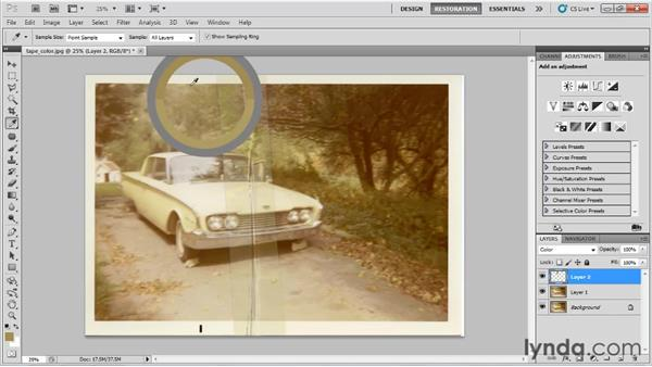 Repairing adhesive tape damage on a color photo: Photo Restoration with Photoshop