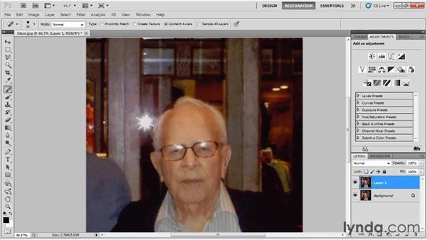 Reducing starburst light glare: Photo Restoration with Photoshop