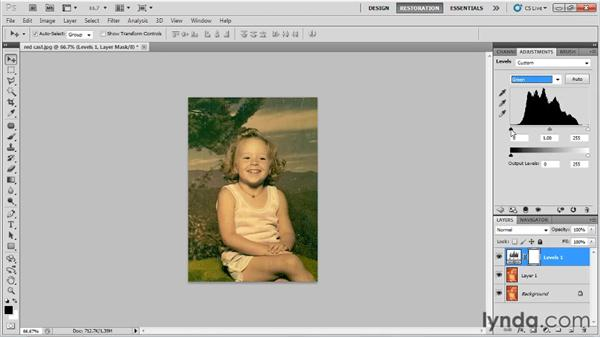 Adjusting color levels by channel: Photo Restoration with Photoshop