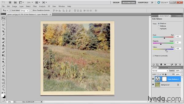 Correcting color problems using the Color Balance adjustment: Photo Restoration with Photoshop