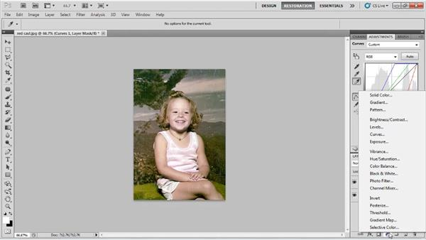Correcting color by combining levels and curves: Photo Restoration with Photoshop