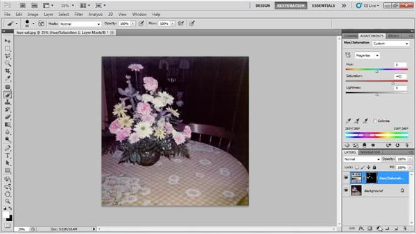 Improving color by adjusting the hue and saturation: Photo Restoration with Photoshop