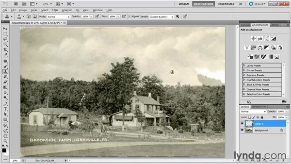 Repairing and recreating backgrounds: Photo Restoration with Photoshop