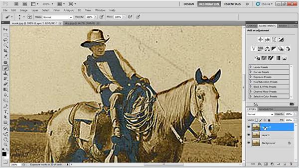 Extracting areas using masks: Photo Restoration with Photoshop