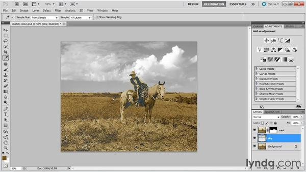 Matching colors in elements you add: Photo Restoration with Photoshop
