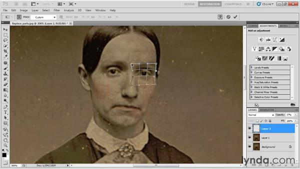 Replacing facial features and missing body parts: Photo Restoration with Photoshop