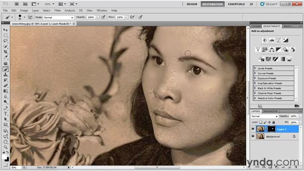 Smoothing a subject's skin: Photo Restoration with Photoshop