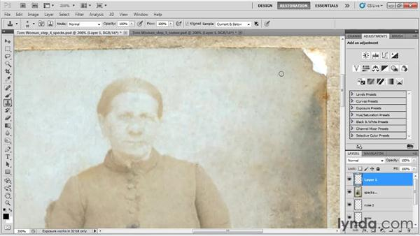 Fixing the missing corner: Photo Restoration with Photoshop