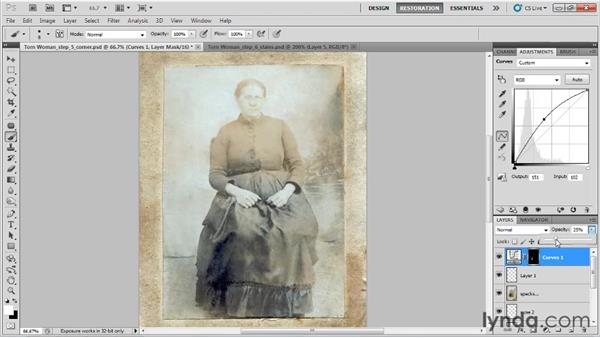 Lightening the stains: Photo Restoration with Photoshop