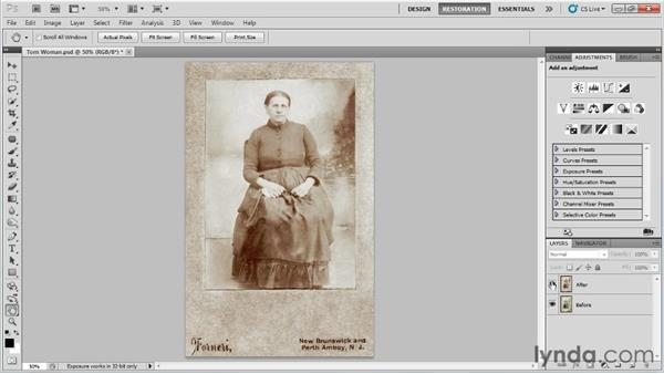Comparing the image before and after: Photo Restoration with Photoshop