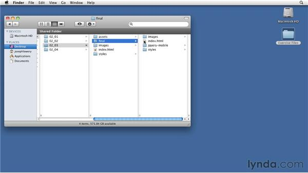 Using the exercise files: Building Android and iOS Apps with Dreamweaver CS5.5
